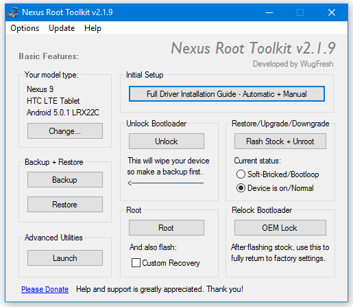 Скриншот #1 из программы Nexus Root Toolkit